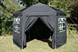 Airwave 3.5mtr Pop Up Gazebo HEXAGONAL Black Fully Waterproof with Six Sides and CarryBag