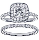 2.42 CT TW Pave Set Diamond Encrusted Princess Cut Engagement Bridal Set in 14k White Gold