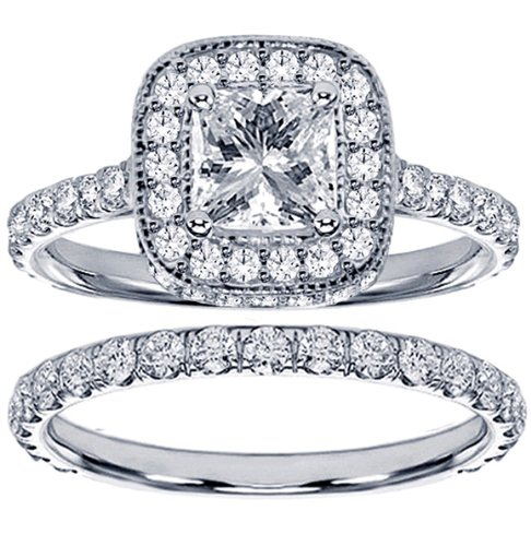 2.42 CT TW Pave Set Diamond Encrusted Princess Cut Engagement Ring Bridal Set in 14k White Gold