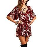 SheIn Women's V Neck Floral Print Tie Waist Short Romper Jumpsuit Medium #Burgundy