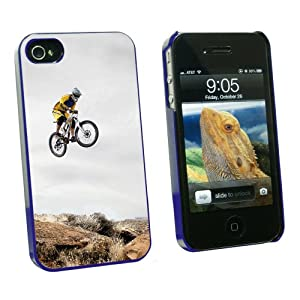 Graphics and More Mountain Bike Biking - Snap On Hard Protective Case for Apple iPhone 4 4S - Blue - Carrying Case - Non-Retail Packaging - Blue from Graphics and More