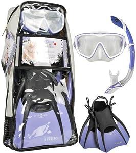 Aqua Lung Sport Diva Mask / Island Dry Snorkel / Trek Fin / Travel Bag