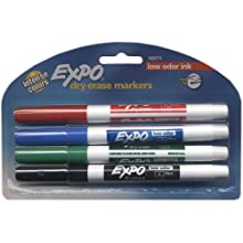 Expo Low Odor Dry Erase Pen Style Markers, 4 Colored Markers (86674)