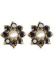 Archi Collection Ethnic Floral Golden Plated Back CZ With Pearl Stud Golden Brass Stud Earring For Women