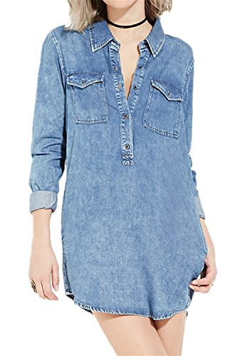 Moda con Scollo a V Bottoni Tasca sul davanti Mini Denim Jean Camicia Dress Vestito Abito Blu L