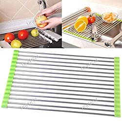 Folding Stainless Steel Kitchen Dish Drying Drain Rack HKI-118678