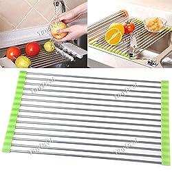 Folding Stainless Steel Kitchen Dish Drying Drain Rack HKI-118678