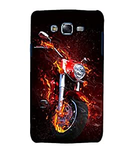 printtech Flaming Biking Back Case Cover for Samsung Galaxy J7 (2016 EDITION)