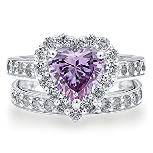 BERRICLE 925 Sterling Silver Heart Lavender CZ 2pcs Fashion Right Hand Ring Set Size 7