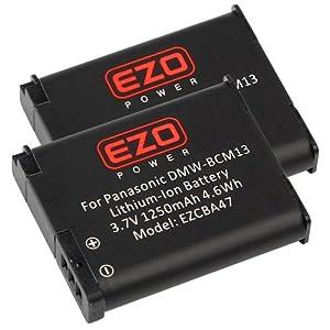 EZOPower DMW-BCM13 BCM13 1250mAh Batterie Lithium-Ion - Pack de 2 Pour Panasonic Lumix DMC-FT5, TZ40, TZ41, TS5, ZS30