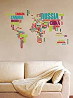Ambiance Sticker Vinilo Decorativo World Map Made Of Country Names