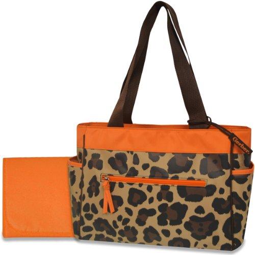 Gerber Diaper Tote Bag, Orange/Brown Cheetah