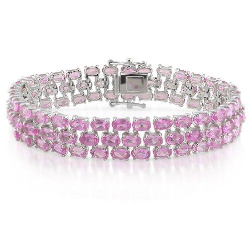 Sterling Silver 37 CT TGW Created Pink Sapphire Bracelet