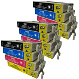 12 CiberDirect High Capacity Compatible Ink Cartridges for use with Epson WorkForce WF-3530DTWF Printers.