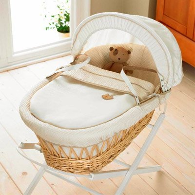 Izziwotnot Gift Natural Wicker Moses Basket (Cream)