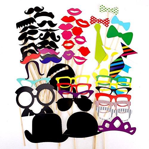 Tinksky Foto stand puntelli 54 piece Kit fai da te per matrimonio festa riunioni compleanni Photobooth Dress-up accessori partito favori, costumi con i baffi su un bastone, Cappelli, occhiali, bocca, Bowler, Bowties