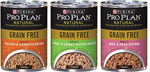 Purina Pro Plan Natural Grain Free Wet Adult Dog Food Variety Pack, 3 Flavors, 13-Ounces Each (6 Pack) (Purina Pro Plan Puppy Wet compare prices)