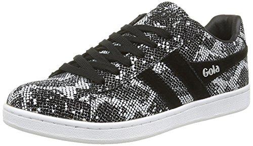 Gola Women's Equipe Reptile Fashion Sneaker, Black/White, 6 M US