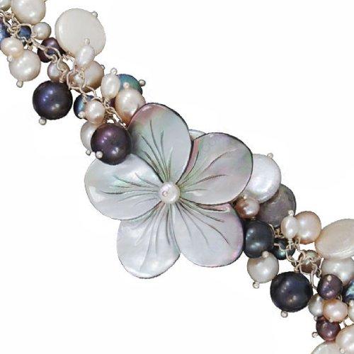 925 Sterling Silver Shell (Flower) South Sea Pearl Gemstone Wedding Anniversary & Costume Matching Designer Fashion Bracelet Jewelry 9