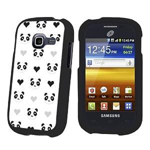 Samsung Galaxy Centura S738C Black Protection Case - Mini Panda White