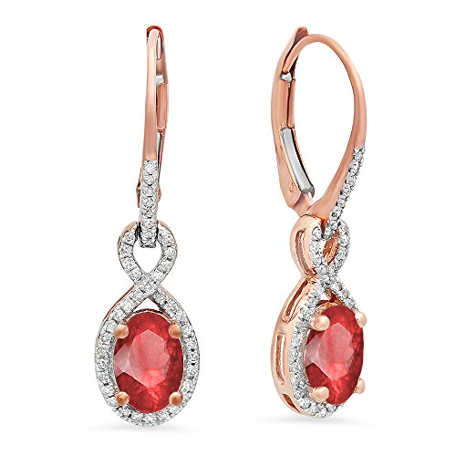 Rose Gold Ruby & White Diamond Infinity Dangling Earrings