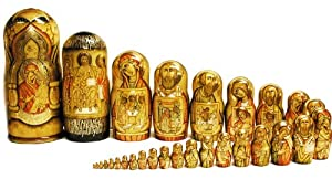 29 Nested Hand Painted Icon Dolls With Icons NEW !!!! 18 3/4