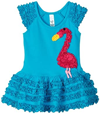 Love U Lots Baby-girls Infant Ruffle Flamingo Drop Waist Dress, Turquoise, 24 Months