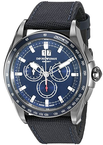 Emporio-Armani-Swiss-Made-Mens-ARS9104-Analog-Display-Swiss-Quartz-Blue-Watch