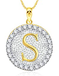 "VK Jewels Alphabet Initial Letter ""S"" Gold And Rhodium Plated Alloy Pendant With Chain For Men & Women P2201G..."