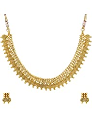 Adwitiya 24k Gold Plated Rich Golden Coin Beaded Traditional Antique Necklace Set For Womens