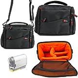 Housse étui noir/orange DURAGADGET pour Sony HDR-CX220EB.CEN Caméscope numérique 8,9 Mpix - Garantie 2 ans