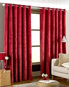 Luxurious Red Heavyweight Velvet 90x90 Lined Ring Top Curtain Drapes by Curtains