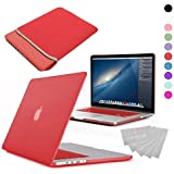 LOVE MY CASE / BUNDLE RED Hard Shell Case with matching KEYBOARD Skin and NEOPRENE Sleeve Cover for 13-inch Apple MacBook PRO with Retina Display [Will only fit MacBook PRO Retina Display Models - NO CD/DVD DRIVE]