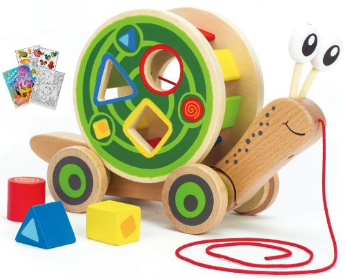 Hape 0349 Walk Along Snail Dual Pull Toy & Shape Sorter With Coloring Book