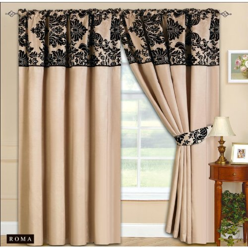 Cream Curtains With Black Pelmet Panel And Tie Backs 90x90