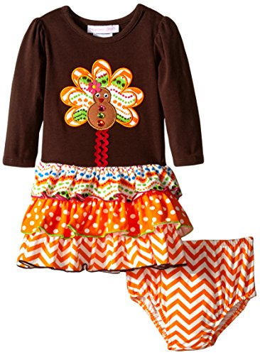 Bonnie baby baby girls infant gingerbread turkey applique with multi