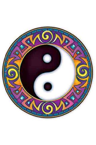 Yin-Yang Mandala Art due facce, Circle Adesivo per auto