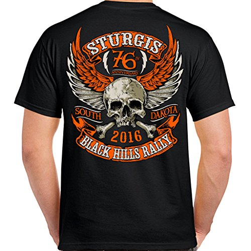 Biker Life USA 2016 Sturgis Orange Skull Wings T-Shirt