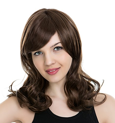 [PINKISS Women's Premium Fashion Hair Replacement Wig with Super Breathable Wig Cap (MC20 / BROWN)] (Perm Wigs)