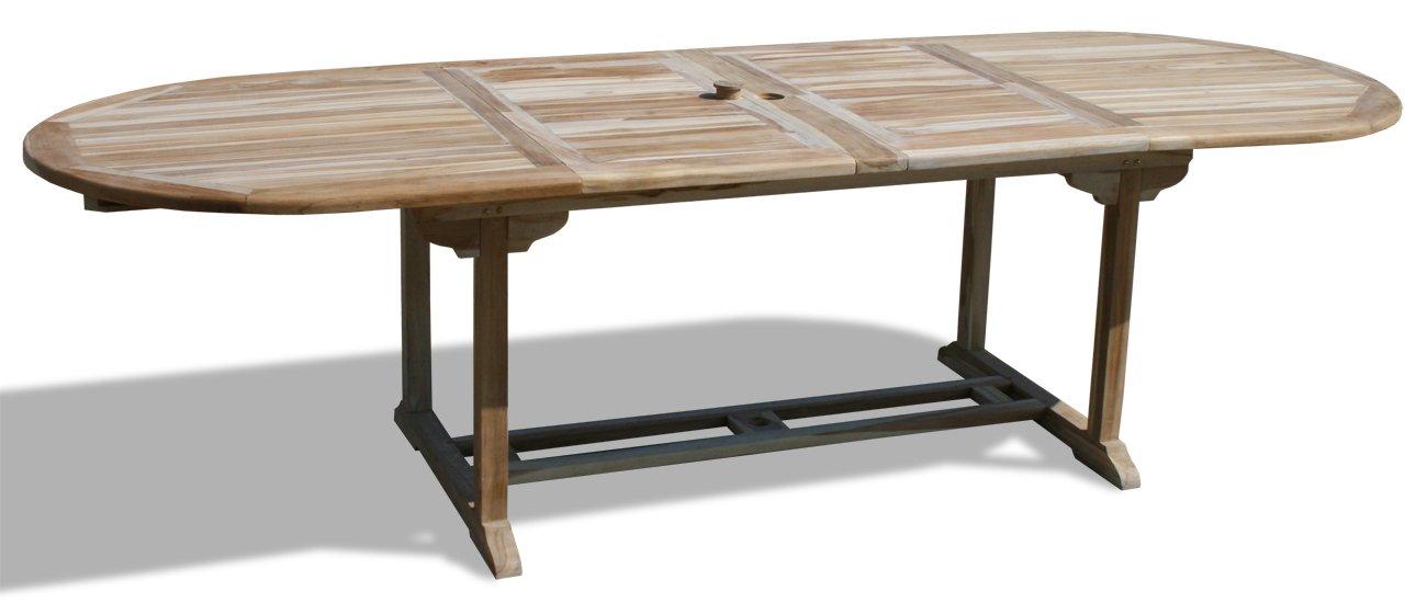 KMH®, 2-fach ausziehbarer Gartentisch (180 – 230 – 280 cm x 100 cm) – ECHT TEAK! (#102091) günstig bestellen