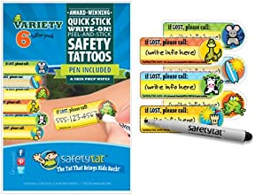 Quick Stick Write-on Child ID Tattoos Gender Neutral Variety 6pk