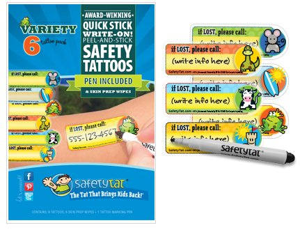 Quick Stick Write-on! Child ID Tattoos (Gender Neutral Variety 6pk.) - 1