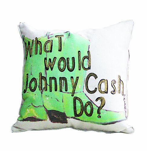 """Creative Co-Op """"What Would Johnny Cash Do?"""" Cowboy Boots Pillow front-396731"""