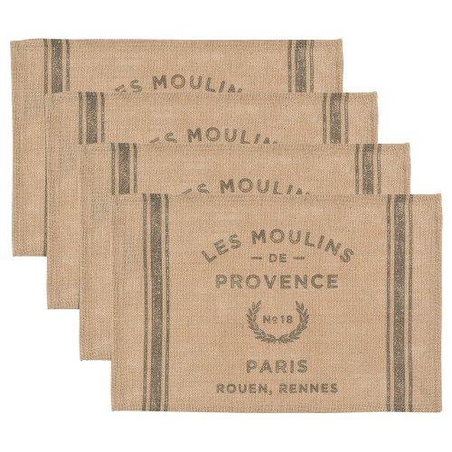 Now Designs Burlap Placemats, Les Moulins Print, Set of 4
