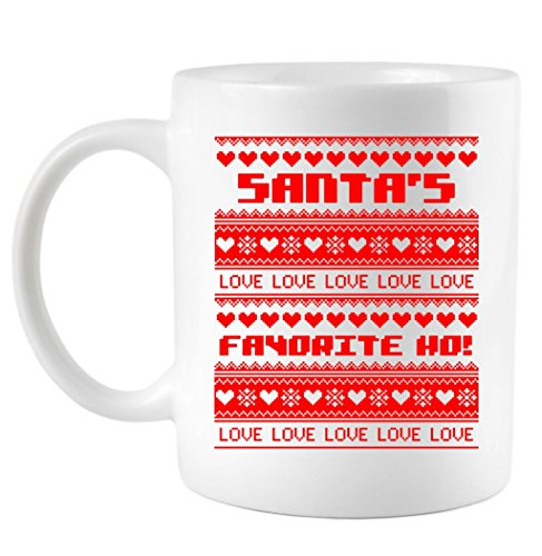 Santa'S Favorite Ho Ugly Christmas Sweater Coffee Mug 15 Oz