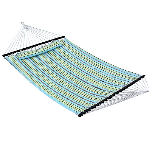 SONGMICS Hammock Quilted Fabric Double Size with Detachable Pillow Wooden Spreader Bar Heavy Duty UGDC34Q (Hammock Without Stand compare prices)