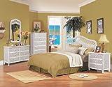 Santa Cruz-Wicker Rattan 4 Pc. Bedroom Set,Color|White,Size|63