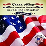 American Flag Made in US - US Flag 3x5, Nylon, Embroidered Stars and Stitched Stripes. 100% American Made and Satisfaction Guaranteed. US Banner Flag is a Limited Edition US Flag 3 x 5 by Grace Alley. American Flag Made in America. Meets US Flag Code