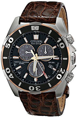 Citizen Signature Eco-Drive Perpetual BL5446-01E 43 Stainless Steel Case Pink Leather Men's Quartz Watch