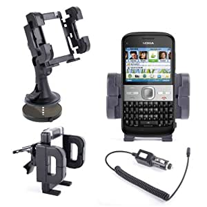 DURAGADGET Vehicle Mount With Multi-Use Attachments For Nokia Lumia 800 & 1800 + Car Charger